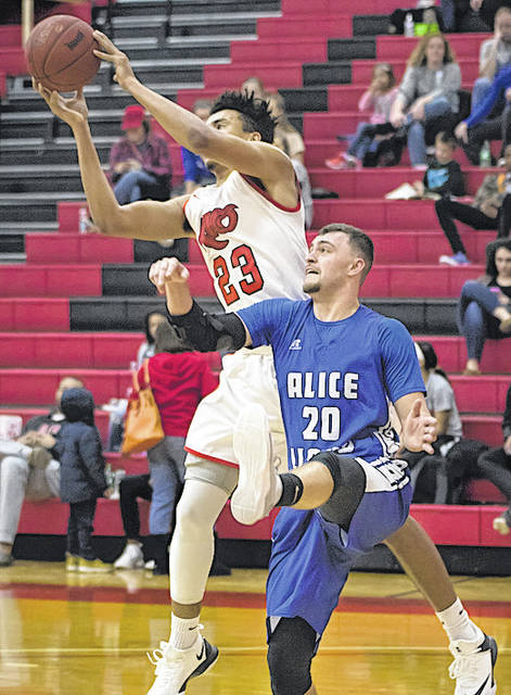 Rio Grande's Greg Wallace outjumps Alice Lloyd's Chance Cornett for one of his career-high 12 rebounds in Sunday afternoon's 104-85 win over the Eagles at the Newt Oliver Arena. Wallace also had a career-high 16 points in the victory.