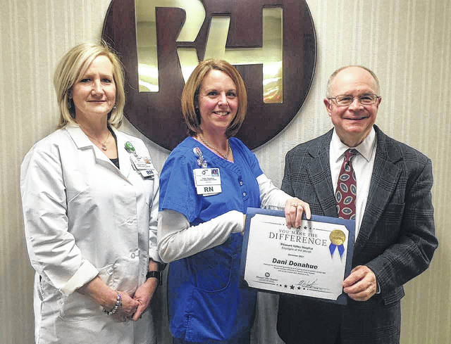 Pleasant Valley Hospital December 2017 Employee of the Month Dee Dee Donahue is pictured with Amber Findley, executive director of nursing services, PVH CNO, and Glen Washington, FACHE, PVH CEO.