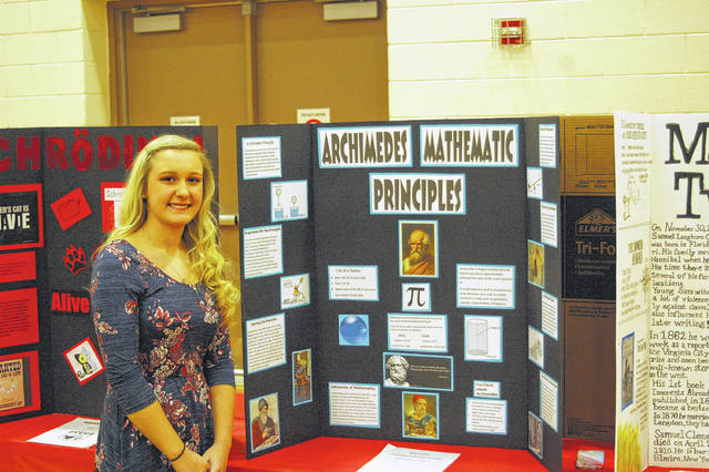 Riley Sanders with her work on Archimedes.