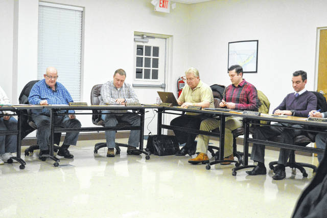 Gallipolis City Commissioners discuss the year's coming challenges and needs. From left to right sit Tony Gallagher, Mike Fulks, Steven Wallis, Cody Caldwell and Beau Sang.