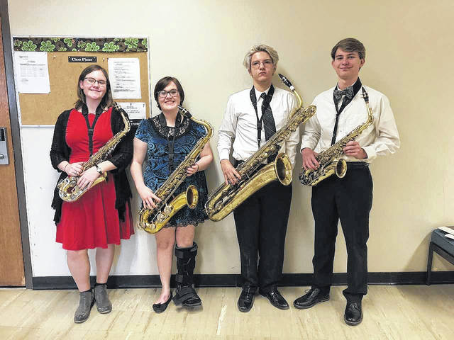 Saxophone Quartet from left: Morgan Loveday, Alex Russell, Caleb Danford, and Thomas Hamilton.