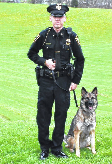 Josh Davies was officially named Police Chief of the Rio Grande Police Department. He is pictured here with his police canine Smilla.