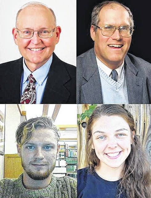 Clockwise from top left, Professor of English Dr. Kent Williams, Professor of History William Plants, Class of 2016 Alumna Klaire Smith and Senior English Major Daniel Carroll.