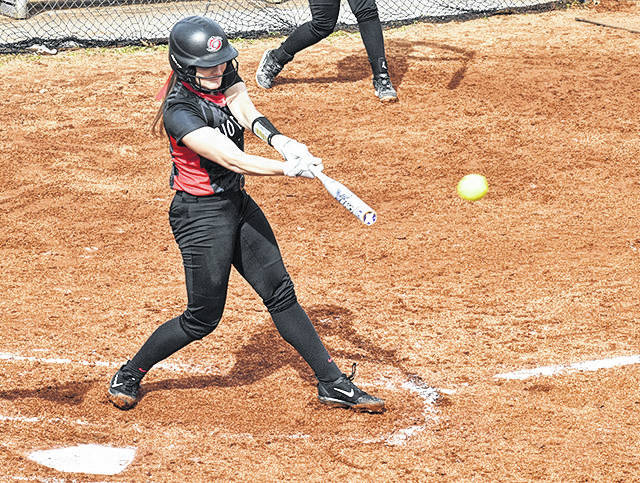 Rio Grande's Kelsey Conkey connects for a two-run home run during the first inning of Friday's season-opening 4-1 win over Union College at Union Field in Barbourville, Ky. The Bulldogs earned a split with the RedStorm by taking game two, 7-2.