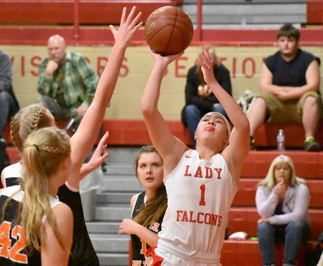 Wahama sophomore Hannah Rose (1) attempts a shot against a Wirt County defender during the first half of Friday night's 70-34 victory in Mason, W.Va.
