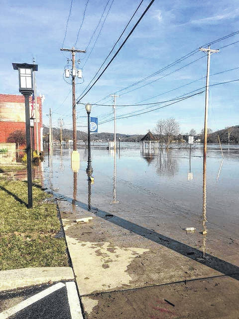 A view from Main Street in Pomeroy during last weekend's flooding along the Ohio River.