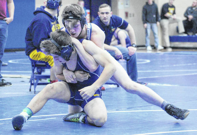 Gallia Academy sophomore Bronson Carter locks in a hold on an opponent during a 138-pound match at the 2017 Skyline Bowling Wrestling Invitational held Dec. 30, 2017, at Gallia Academy High School in Centenary, Ohio.