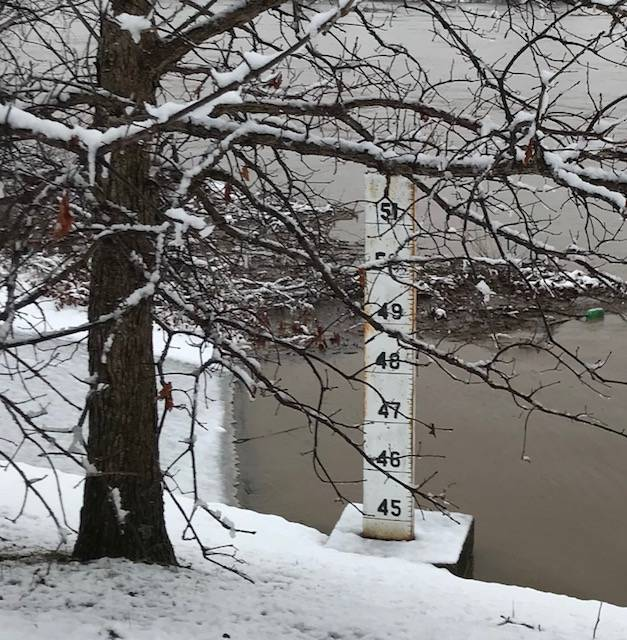 The flood gauge at Point Pleasant Riverfront Park. Flood stage is at 40 feet in Point Pleasant.
