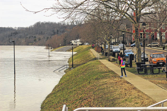 Many people visited downtown Gallipolis to see the flood waters.
