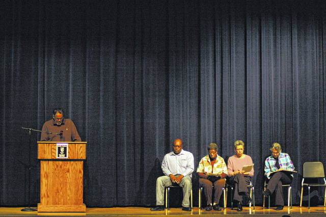 From left are Robert Gordon, Melvin Griffin, Althea Howard, Rose Stoney, and Elaine Armstrong. Each of these presenters were either a graduate of Gallia Academy, a descendant of Mitchell's, or a board member with the John Gee Black Historical Center.