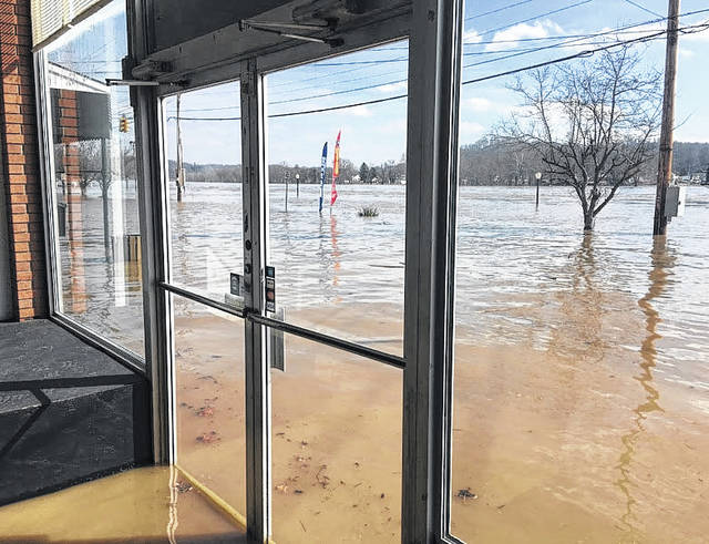 Water made its way into several businesses in the downtown area over the weekend in Pomeory. Water began to recede on Monday, leaving a mess for owners, workers and volunteers to clean up in the days ahead.