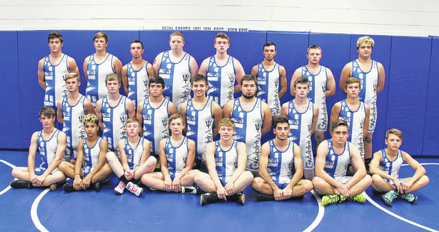 Pictured are members of the 2017-18 Gallia Academy varsity wrestling team. Seated in front, from left, are C.J. Northup, Jason Stroud, Kenton Ramsey, Corbin Walker, Trentin Waller, Francesco Russo, Dewey Ferguson and Grant Bryan. Kneeling middle are Chancey Odom, Justin Day, Boo Pullins, Kaden Ehman, Johnathan Shepherd, Bronson Carter and Tristin Crisenbery. Standing in back Kenny Siders, Zac Canaday, Caleb Greenlee, Hunter Terry, Nickolas Hufford, Kyle Greenlee, Andrew Mullins and Logan Griffith.