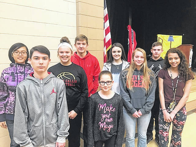 South Gallia Middle and High School Students of the Quarter for the 2nd nine weeks. Front row is Cameron Murphy, Margaret Pennington; second row, Alex Lu, Chanee Cremeens, Olivia Hornsby, Amaya Howell, Chad Bostic, Kiley Stapleton, and E.J. Siders.