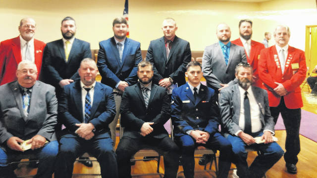 On Monday, March 19, the Gallipolis Elks welcomed nine new members into the Gallipolis Elks Lodge. Pictured from left to right in the back row are Exalted Ruler Walt Brown, Roy Sayre, Seth Woodward, Seth Akins, Thomas Cook, Loyal Knight Bob McClaskey and Leading Knight Bob Marchi. Front row from left to right are Dean Martin, Donald Holcomb, Charles Hollanbaugh, USAF A2C Tristan Vance and Robert Shaw. The installation ceremony was performed by the Past Exalted Rulers Association with PSP Fran Mullen officiating.
