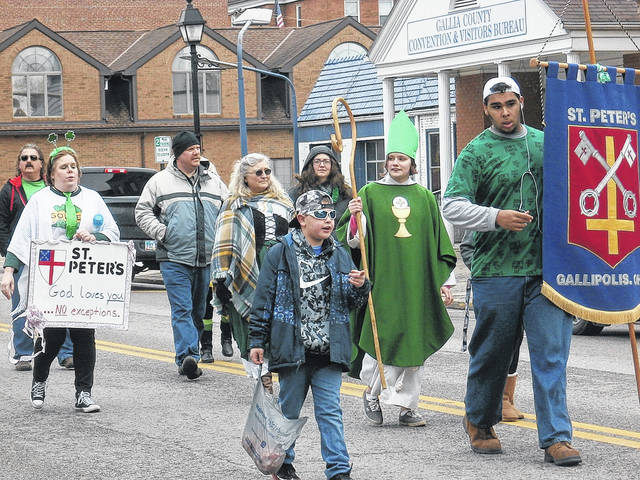 "St. Peter's Church reminds all ""God loves you…no exceptions"" in Saturday's St. Patrick's Day Parade in downtown Gallipolis."