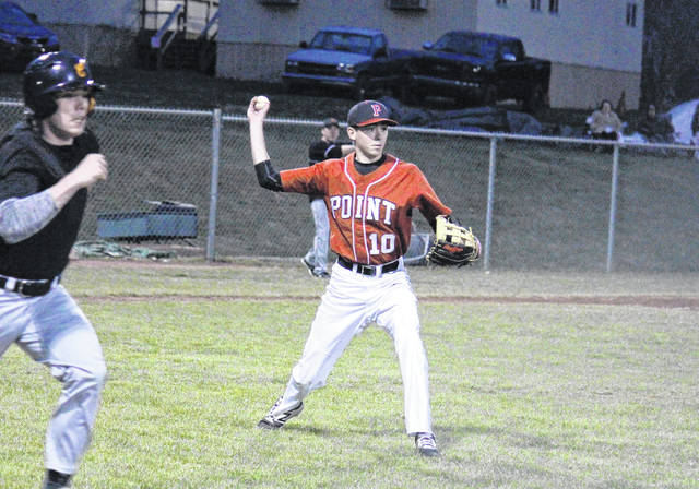 PPHS junior Sam Pinkerton (10) throws out a runner on his way to first base, during Chapmanville's 7-1 win on Monday in Point Pleasant, W.Va.