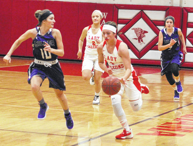 Wahama sophomore Hannah Rose dribbles the ball up the floor during a Jan. 25 TVC Hocking girls basketball contest against Miller at Gary Clark Court in Mason, W.Va.