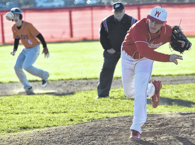 Wahama junior Tanner Smith (5) delivers a pitch in the top of the fourth inning of the White Falcons' 13-2 victory over Wirt County on Friday in Mason, W.Va.