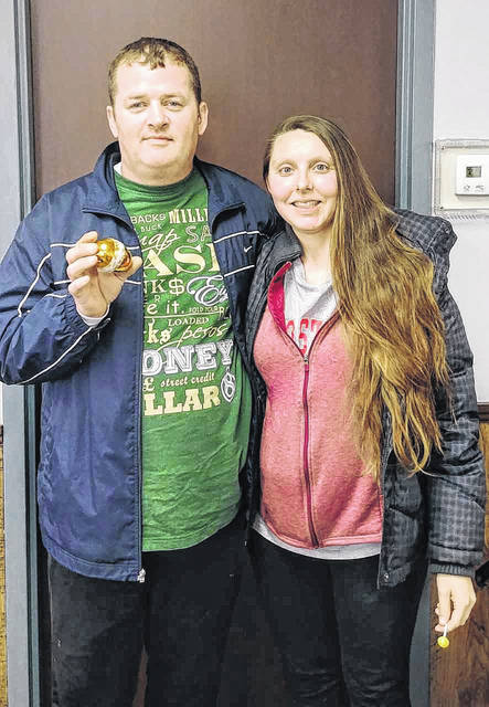 The Gallipolis Daily Tribune's Golden Easter Egg has been found. The annual contest sent locals scrambling to find the egg worth $200. Pictured are the lucky hunters, Joe Shuley and Tracy Calvert of Gallipolis. The pair found the egg where it was hidden by Tribune staff - at the gazebo at Mound Hill Cemetery in Gallipolis.