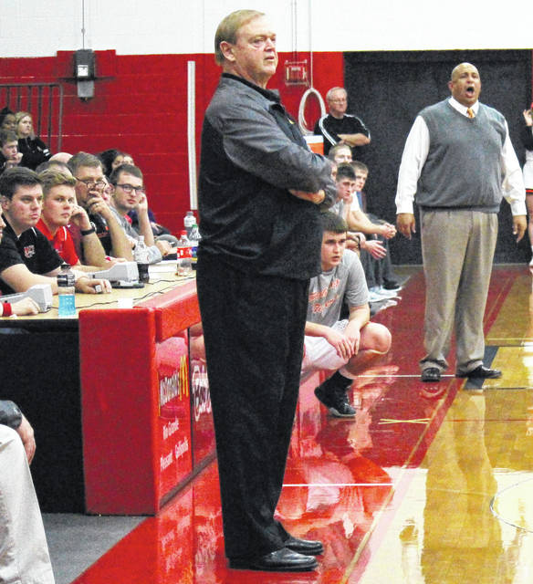 Meigs head coach Ed Fry watches from the sideline during the Marauders bout against Ironton in the 2017 Newt Oliver Coaches Classic, on Dec. 9, 2017, in Rio Grande, Ohio.