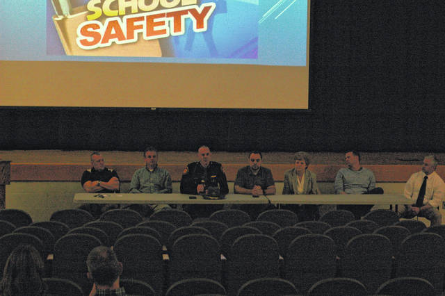 Several presenters were on hand for the safety presentation to the public Tuesday evening. From left, Safety Coordinator Troy Johnson, Gallipolis Police Chief Jeff Boyer, Gallia Sheriff Matt Champlin, School Board President Morgan Sanders, ADAMHS Executive Director Robin Harris, School Board Member John O'Brien, and GAHS Principal Josh Donley.
