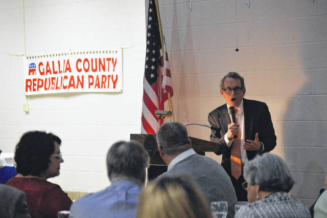 Gubernatorial candidate and Ohio Attorney General Mike DeWine addresses Gallia Republicans during the annual Gallia Lincoln-Reagan Day Dinner Thursday evening in Rio Grande. Look for details on DeWine's appearance, along with a rundown of other speakers, in the Sunday Times-Sentinel.
