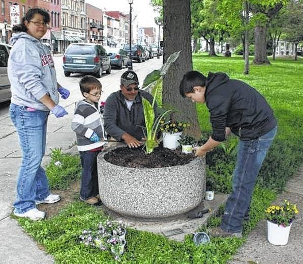 A group of volunteers plants an elephant ear in a ground container at the corner of Second Avenue and Court Street in Gallipolis City Park.