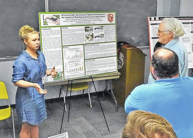 Rio Grande Wildlife Conservation Student Andrea Maxwell presents a group project at the annual Ohio Natural History Conference at the Ohio History Center in Columbus.