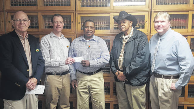 The Gallia Charitable Foundation recently made a donation to the Gallia Emancipation Committee to support the 2018 Emancipation Celebration in Gallia. From left to right are Dean Evans, David Evans, Emancipation President Andy Gilmore, Emancipation Vice President Glenn Miller and Thomas Moulton.