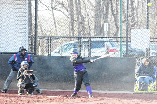 Southern senior Paige VanMeter blasts a home run during the Lady Tornadoes' victory over Federal Hocking on Tuesday in Racine, Ohio.