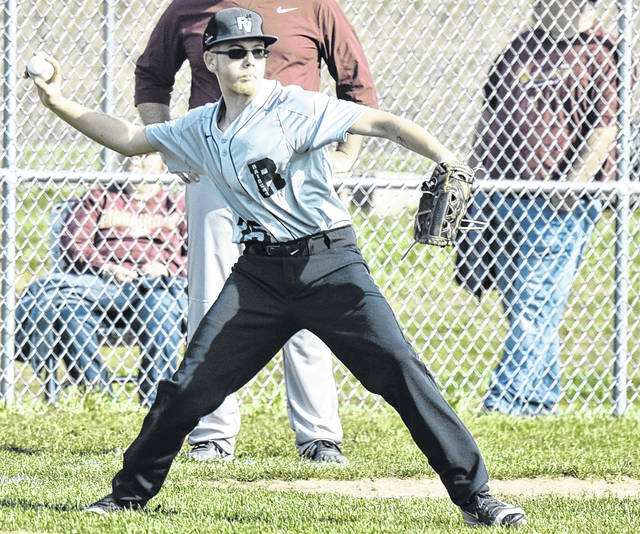 RVHS junior Wyatt Halfhill attempts a throw from third base during the Raiders 12-1 loss to Meigs on Wednesday night in Bidwell, Ohio.