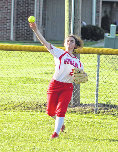 Wahama junior Grace Haddox relays a throw back to the infield during an April 12 non-conference softball contest against Buffalo in Hartford, W.Va.