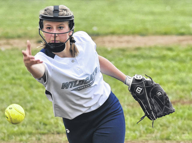 Hannan freshman Bailey Coleman delivers a pitch during the Lady Wildcats 16-10 loss in the opening contest of a doubleheader versus Tolsia on Thursday night in Ashton, W. Va.