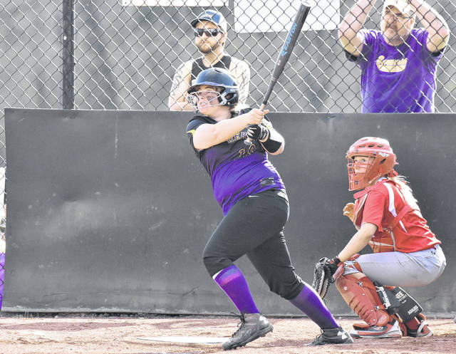 Southern sophomore Kaitlyn DeLacruz drives a ball during the Lady Tornadoes 9-4 victory over Trimble on Friday in Racine, Ohio.