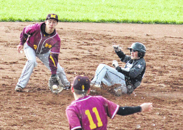 River Valley's Wyatt Halfhill (right) slides into second base in front of the throw from Cory Cox (11) to Tyler Tillis (2), during the Marauders' 10-run win on Wednesday in Rocksprings, Ohio.