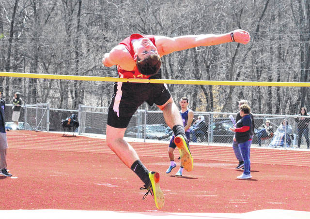 South Gallia junior Kyle Northup competes in the high jump at the Rocky Brands Invitational on March 31 in Nelsonville, Ohio.