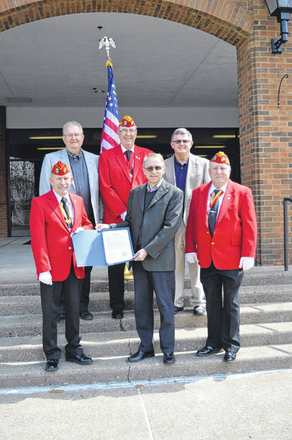 Gallia County Commissioners proclaimed May 4 and 5 Marine Corps League Days. From left to right stand Jim Doss, commandant of Mason-Gallia-Meigs Detachment 1180, Gallia Commissioner Harold Montgomery, Jerry Bain, jr. vice commandant for West Virginia Marine Corps League, Gallia Commissioner David Smith, Gallia Commissioner Brent Saunders and Chuck Cooper, chaplain of 1180.