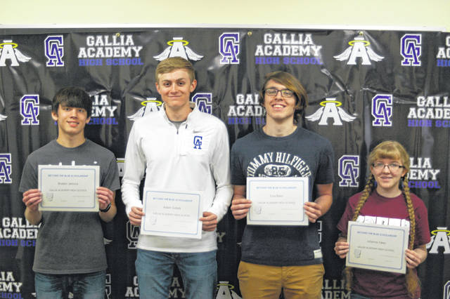 Pictured from left are scholarship winners Braden Kamora, Adam Sickels, Ezra Blain, and Julianna Yates.