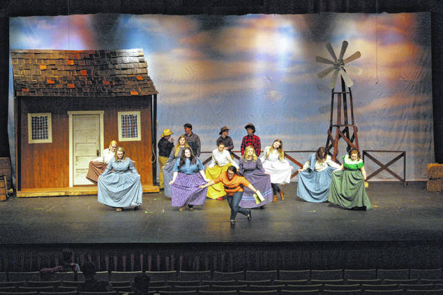 "River Valley students work on their coreography during dress rehearsal in the Berry Performing Arts Center. Students will present ""Oklahoma!"""