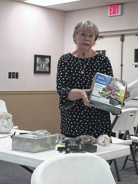 Suzy Williams presents her mechanics and containers for flower arrangements program during the March meeting of the Gallipolis Garden Club.