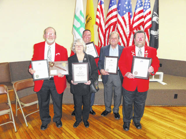 "At the Installation of Officers several people were recognized for their ""outstanding achievements"" to the Elks Lodge during this past year. Pictured are, front row, left to right: Outgoing Exalted Ruler Walton Brown was presented a plaque by the PER Association and a Grand Lodge Certificate for his accomplishments in the past year; Kathy Mullins was awarded a Certificate of Appreciation for her support to the Elks National Foundation; and PER Nelson Dray was recognized as the Outstanding Officer of 2017. Back row, left to right: Jason Northup and Mike Northup were presented Certificates of Excellence by the Grand Lodge for their continued support to the Elks Organization and the Gallipolis Elks 107. Not pictured is the Elk of the Year, Rick VanGundy"