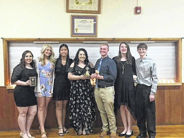 Leo Club welcomed their new officers into service recently. Here they stand with outgoing officers who pass the torch for serving the community in the coming year. From left: Bri Sanders, vice president; Ellie Rose, secretary; Sydney Crothers, treasurer and new vice president; Makena Saunders, president; Derek Henry, new president; Elizabeth Hoover, new treasurer; Nick Sheets, new secretary