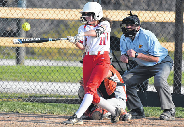 Wahama junior Hannah Billups (11) drives the ball during the Lady Falcons 12-11 loss to Wirt County in Wednesday night's Class A Region IV, Section 1 softball tournament contest in Hartford, W.Va.