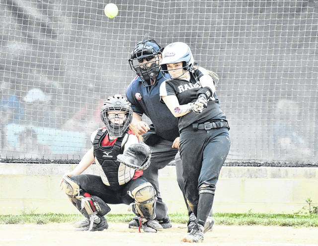 RVHS junior Chloe Gee drives a ball up the middle during the Lady Raiders contest against South Gallia on May 4 in Bidwell, Ohio.