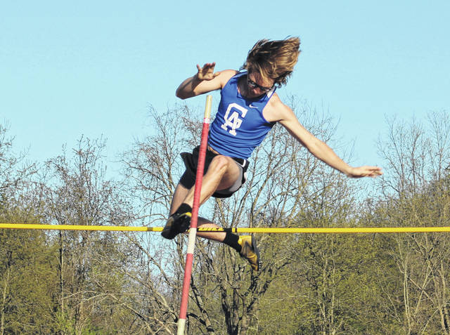 Gallia Academy senior Oliver Davies tries to clear the bar during an attempt in the pole vault event held on April 30 during the Battle for the Anchor at Point Pleasant, W.Va.