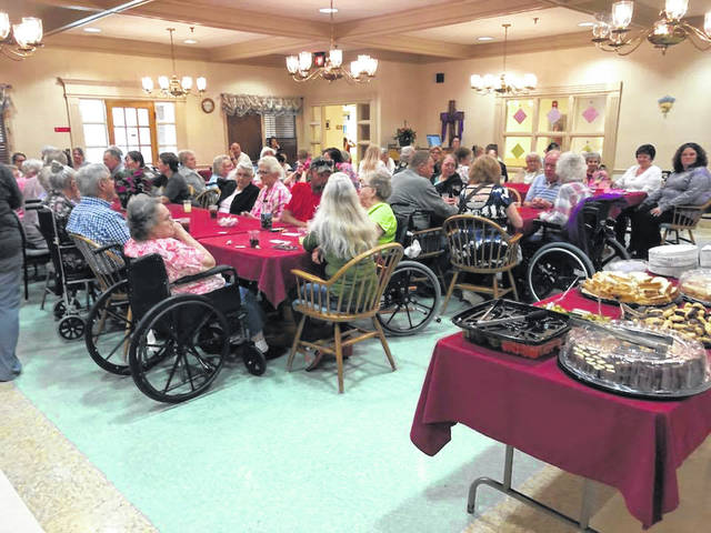 The large dining area at Overbrook was filled with mothers and their families for the annual Mother's Day tea.