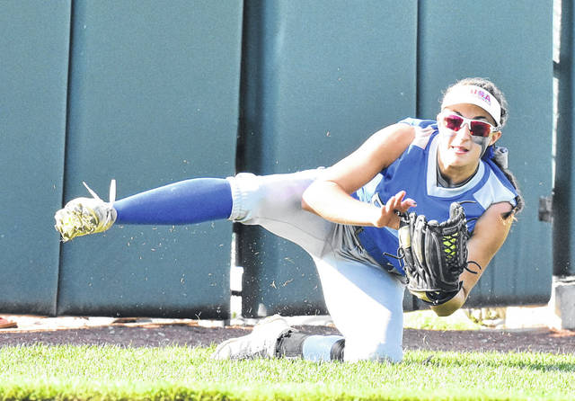 GAHS freshman Bailie Young makes a diving catch during the Blue Angels' 12-0 loss to Sheridan on Monday in a Division II district semifinal contest in Athens, Ohio.