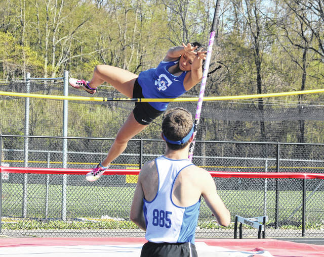 Gallia Academy sophomore Katie Queen clears the bar in the pole vault event during the 2018 Battle for the Anchor held April 30 at OVB Track and Field in Point Pleasant, W.Va.