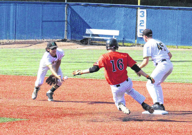 Eastern freshman Matthew Blanchard (left) flips to Isaiah Fish (45) at second base for a force out, during the Eagles' 5-4 setback on Friday at Beavers Field in Lancaster, Ohio.