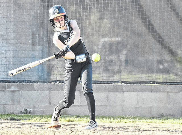 RVHS freshman Sierra Somerville swings away during a Tri-Valley Conference Ohio Division contest against Athens on May 1 in Bidwell, Ohio.